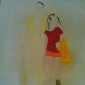 Kindertijd 16, acryl en krijt op papier, 70x50cm. Te koop.