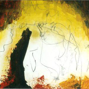 Abstract landschap 1, acryl op papier, 50x70cm. Te koop.