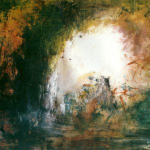 Abstract landschap 2, acryl op papier, 50x70cm. Te koop.