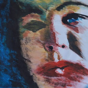 Zelfportret 2, acryl en krijt op papier, 50 x 58 cm. Te koop.