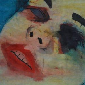Zelfportret 3, acryl en krijt op papier, 42x54cm. Te koop.