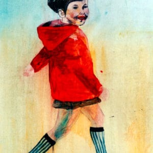 Kindertijd 2, acryl op papier, 70x50cm. Particulier bezit.