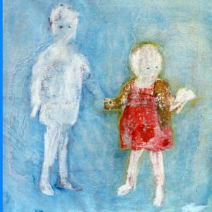 Kindertijd 1, acryl en krijt op papier, 50x50cm. Particulier bezit.