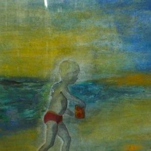 Kindertijd 4, acryl en krijt op papier, 70x50cm. Te koop.