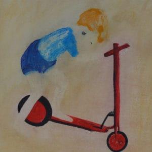 Kindertijd 10, acryl en krijt op papier, 70 x 50 cm. Te koop.