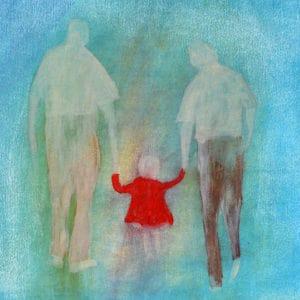 Kindertijd 14, acryl en krijt op papier, 50x60cm. Te koop.
