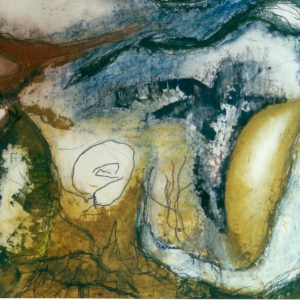 Abstract landschap 5, acryl en krijt op papier, 50x70cm. Particulier bezit.