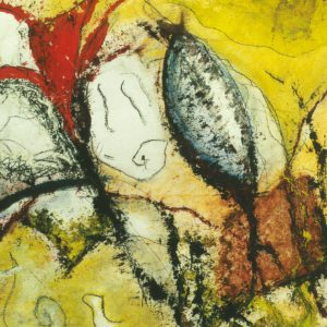Abstract landschap 4, acryl en krijt op papier, 50x70cm. Particulier bezit.
