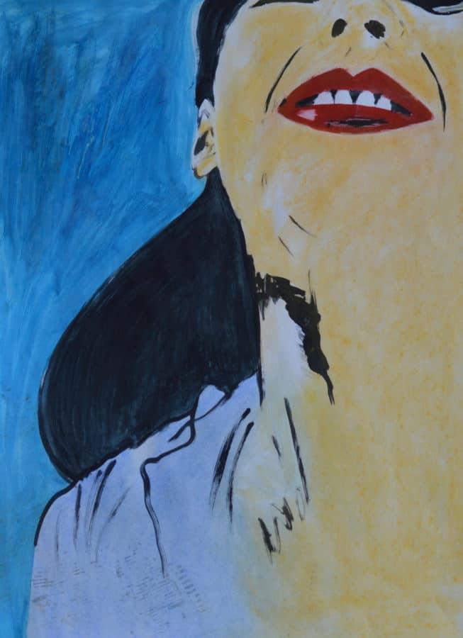 Zelfportret 6, acryl en krijt op papier, 50x70cm. Te koop.