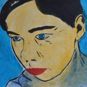 Zelfportret 7, acryl en krijt op papier, 50x70cm. Te koop.